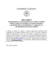 Konkurs za upis studenata na I godinu I ciklusa studija - Filozofski ...