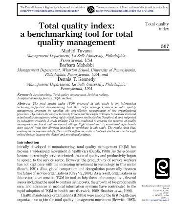 Total quality index - Dr. Madjid Tavana, Professor of Management ...