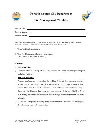 Site Development Checklist - Forsyth County Government