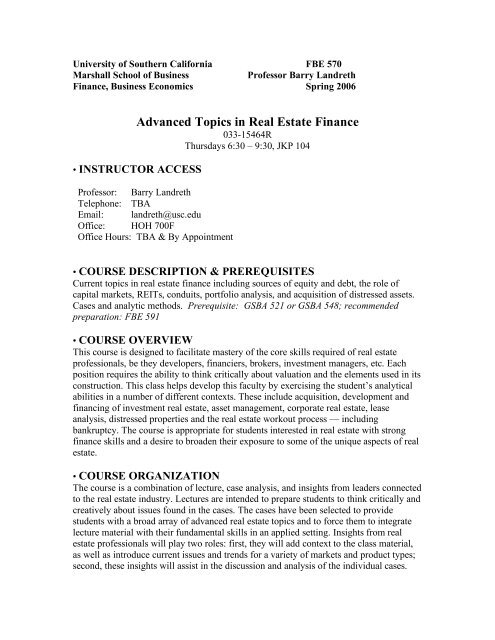 Advanced Topics in Real Estate Finance - USC Marshall