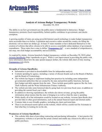 Analysis of Arizona Budget Transparency Website - Public Interest ...