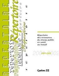 Répertoire des ressources du réseau public en santé au travail ...