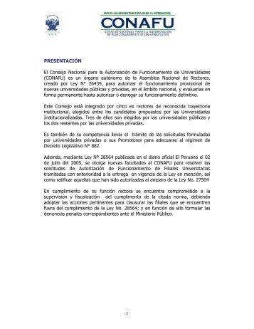 CONAFU - Asamblea Nacional de Rectores