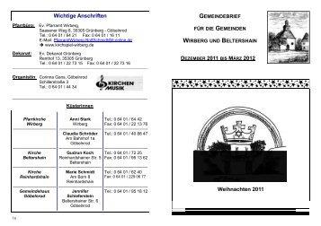 Dezember 2011 - März 2012 - Kirchspiel Wirberg