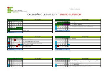 calendário letivo 2013 / ensino superior - IFBA - Campus Eunápolis