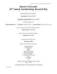 Research Day 2005 (PDF) - Faculty of Health Sciences - Queen's ...
