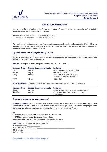 UNISINOS - Centro de Ciências Exatas - ALGORITMOS - Prof. Aníbal