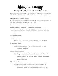 Using MLA Style for a Works Cited List