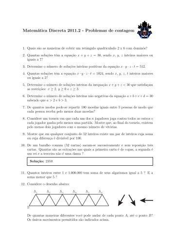 Matemática Discreta 2011.2 - Problemas de contagem - PUC-Rio