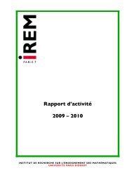 Rapport d'activité 2009 – 2010 - Le portail des IREM