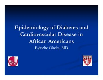 Epidemiology of Diabetes and Cardiovascular Disease in Special ...