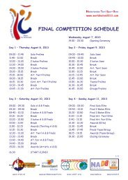 FINAL COMPETITION SCHEDULE