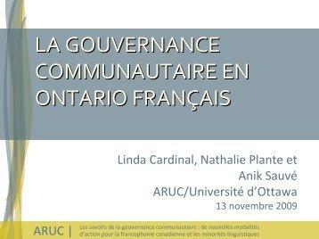 La gouvernance communautaire en Ontario français - Faculté des ...