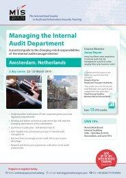 Managing the Internal Audit Department - MIS Training