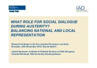 WHAT ROLE FOR SOCIAL DIALOGUE DURING AUSTERITY ...