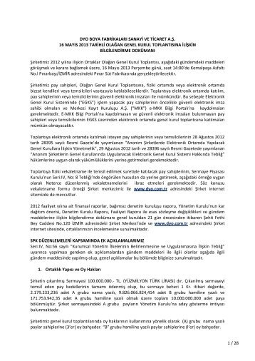Genel Kurul Bilgilendirme Dokümanı - 2012 - Dyo