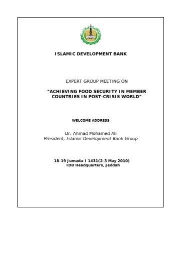 Dr. Ahmad Mohamed Ali, President, IDB Group - Islamic ...