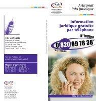 Artisanat info juridique Information juridique gratuite par téléphone