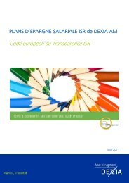 Code européen de Transparence ISR - Dexia Asset Management