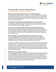 Frequently Asked Questions - Providence Health Plan