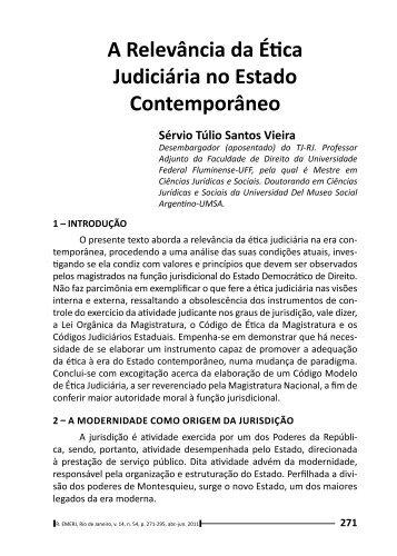 A Relevância da Ética Judiciária no Estado Contemporâneo - Emerj