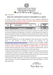 bando per l'assegnazione di contratti di insegnamento a.a. 2008/09