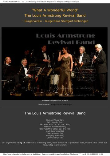 What a Wonderful World - The Louis Armstrong Revival Band ...