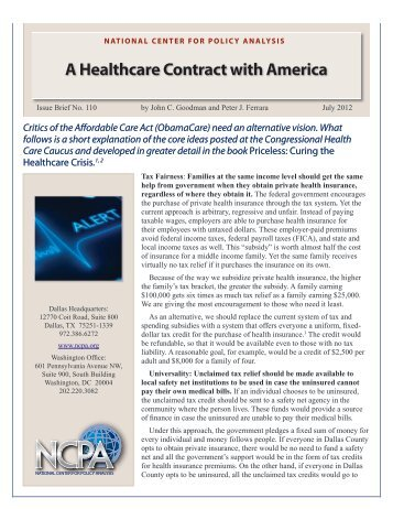 A Healthcare Contract with America - National Center for Policy ...