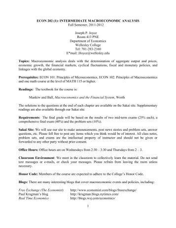 1 ECON 202 (1): INTERMEDIATE ... - Wellesley College