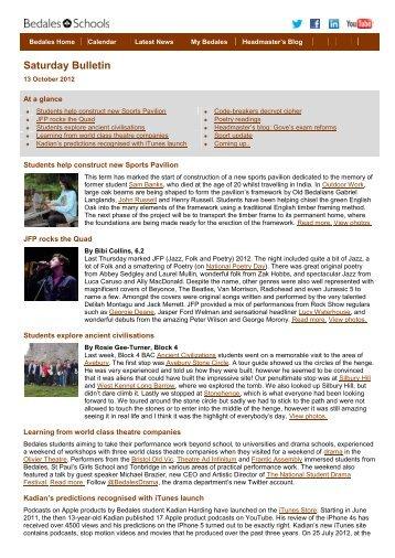 Saturday Bulletin 13 October 2012 - Bedales Schools