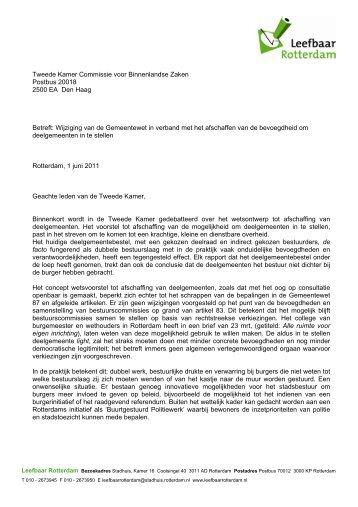 Brief aan minister Donner en leden commissie Binnenlandse Zaken