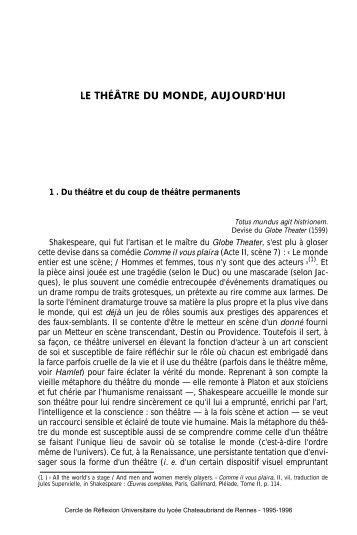 """Th""""›tre du monde.fr - Lycée Chateaubriand"""
