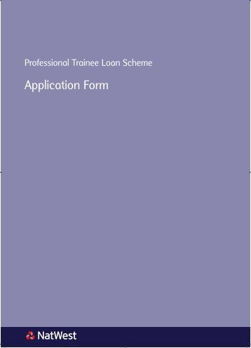 Professional Trainee Loan Application Form - NatWest