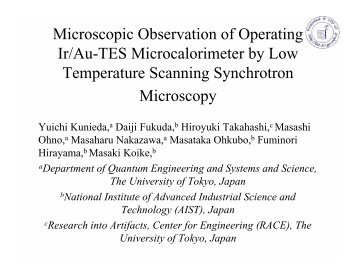 Microscopic Observation of Operating Ir/Au-TES Microcalorimeter by ...