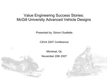 Value Engineering Success Stories