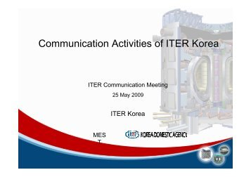 Comm. Activities at ITER Korea presented by Seyoung Park