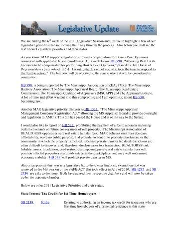 Legislative Update 2/11/11 - Mississippi Association of REALTORS