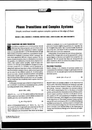 Phase Transitions and Complex Systems - CAB