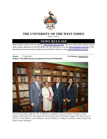 UWI Discusses its Expansion Across The Bahamas - Open Campus ...