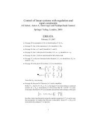 Control of linear systems with regulation and input constraints ...