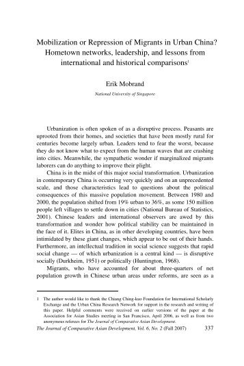 Mobilization or Repression of Migrants in Urban China? - NUS - Home
