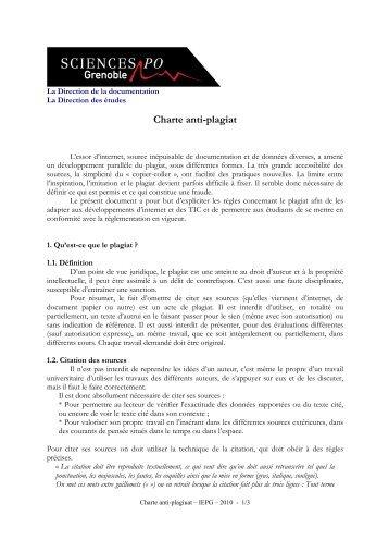 Télécharger la charte anti-plagiat - Sciences Po Grenoble