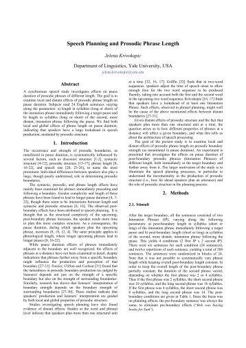 Speech Planning and Prosodic Phrase Length - Speech Prosody 2010