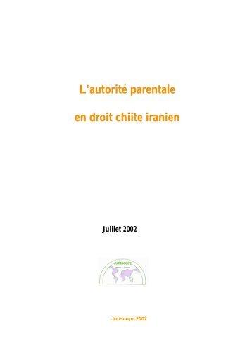 L'autorité parentale en droit chiite iranien - Juriscope