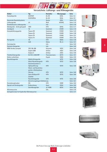 Verzeichnis: Lüftungs- und Klimageräte - Felderer
