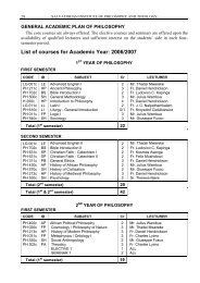 List of courses for Academic Year: 2006/2007