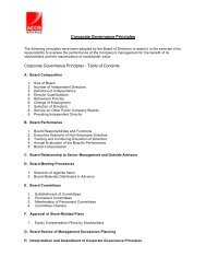 Corporate Governance Principles Corporate Governance Principles