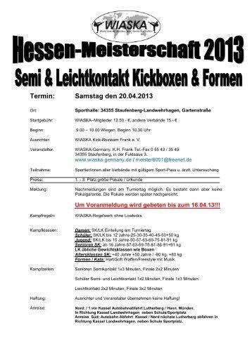 20.04. Hessenmeisterschaft Semi und Leichtkontakt & Formen