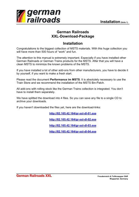 Installation(Seite 1) German Railroads XXL-Download-Package