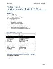 Meeting Minutes Konstituerande möte i Sverige: 2011-06-15